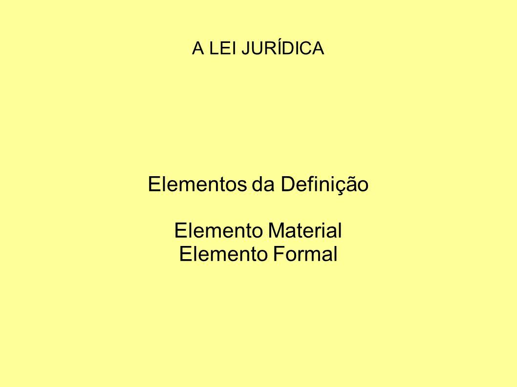 Elementos da Definição Elemento Material Elemento Formal