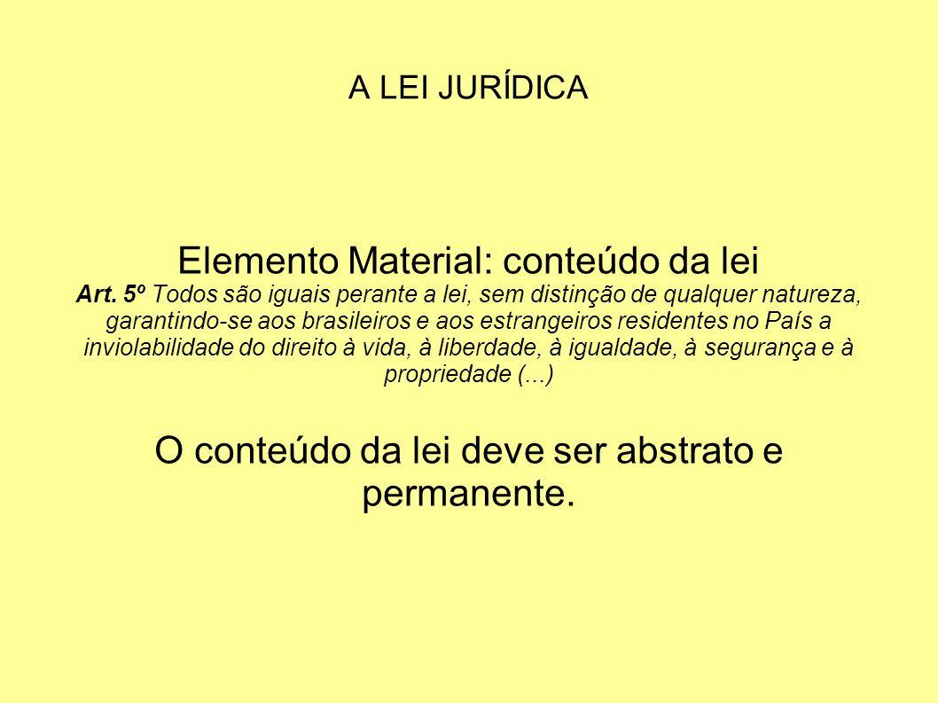 Elemento Material: conteúdo da lei
