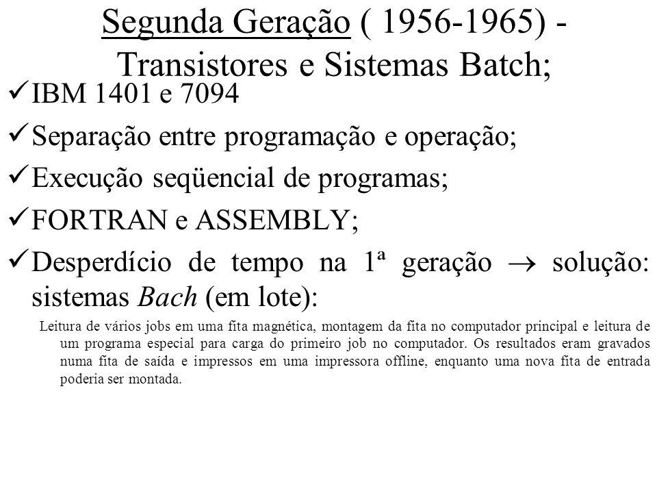 Segunda Geração ( 1956-1965) - Transistores e Sistemas Batch;