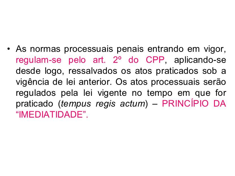 As normas processuais penais entrando em vigor, regulam-se pelo art
