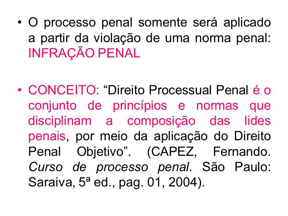O processo penal somente será aplicado a partir da violação de uma norma penal: INFRAÇÃO PENAL