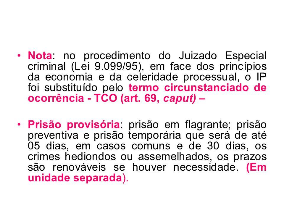 Nota: no procedimento do Juizado Especial criminal (Lei 9