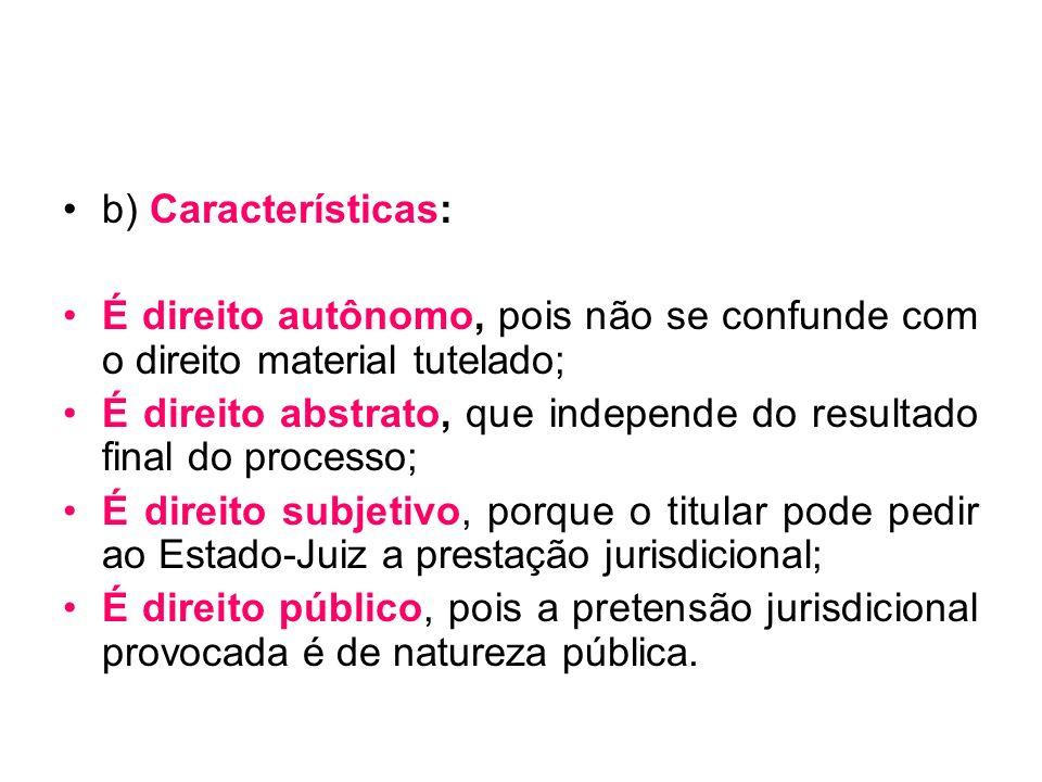 b) Características: É direito autônomo, pois não se confunde com o direito material tutelado;