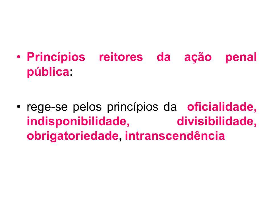 Princípios reitores da ação penal pública: