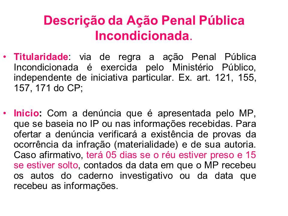 Descrição da Ação Penal Pública Incondicionada.