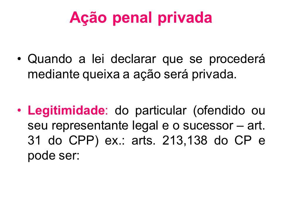 Ação penal privada Quando a lei declarar que se procederá mediante queixa a ação será privada.