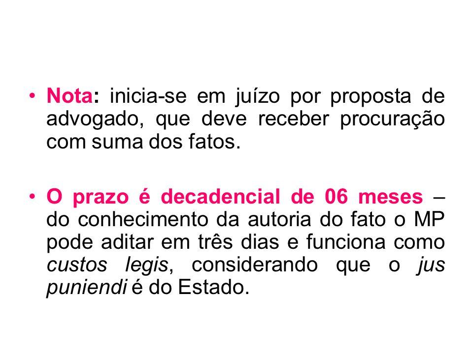 Nota: inicia-se em juízo por proposta de advogado, que deve receber procuração com suma dos fatos.