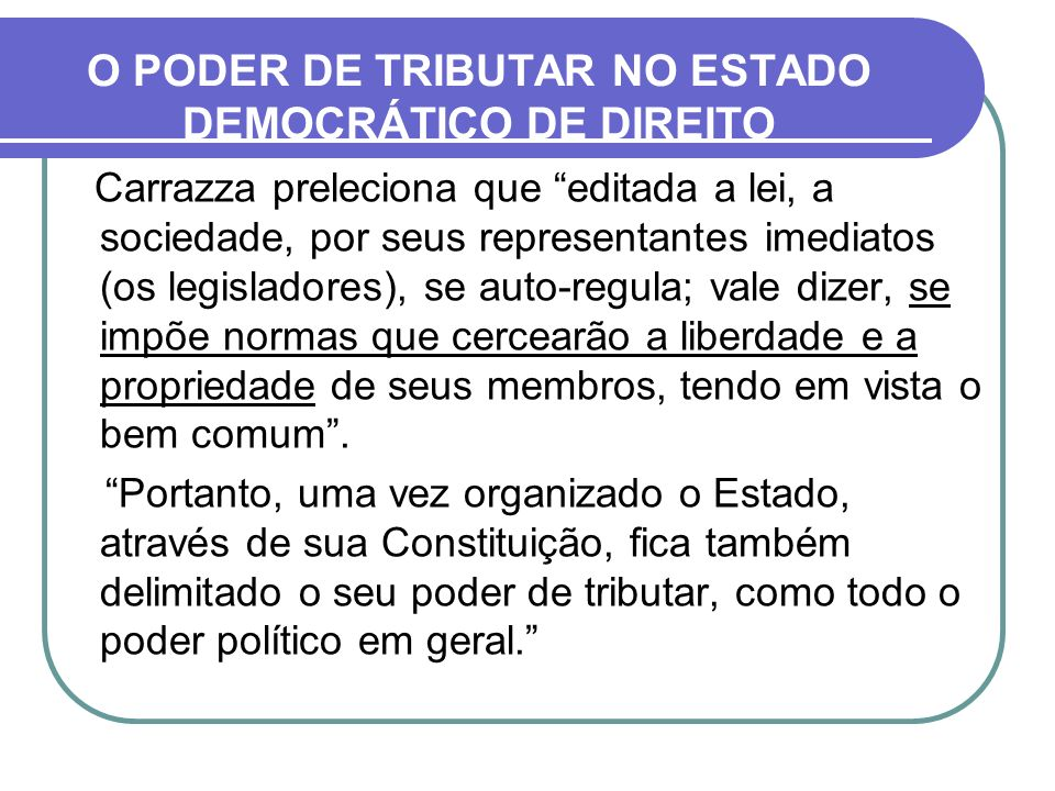O PODER DE TRIBUTAR NO ESTADO DEMOCRÁTICO DE DIREITO