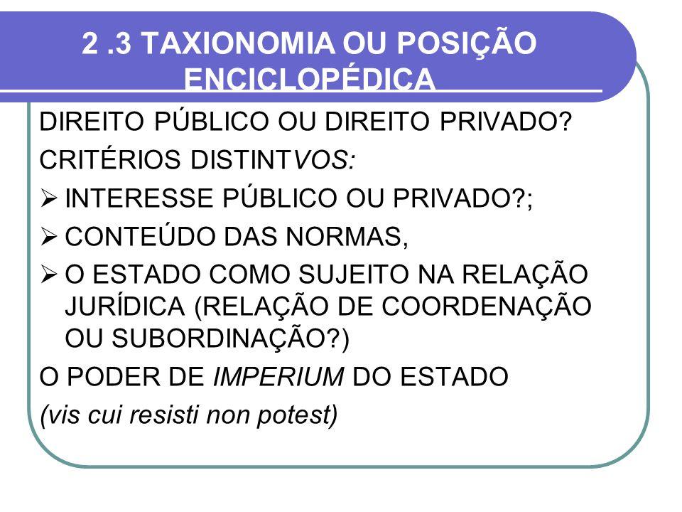 2 .3 TAXIONOMIA OU POSIÇÃO ENCICLOPÉDICA