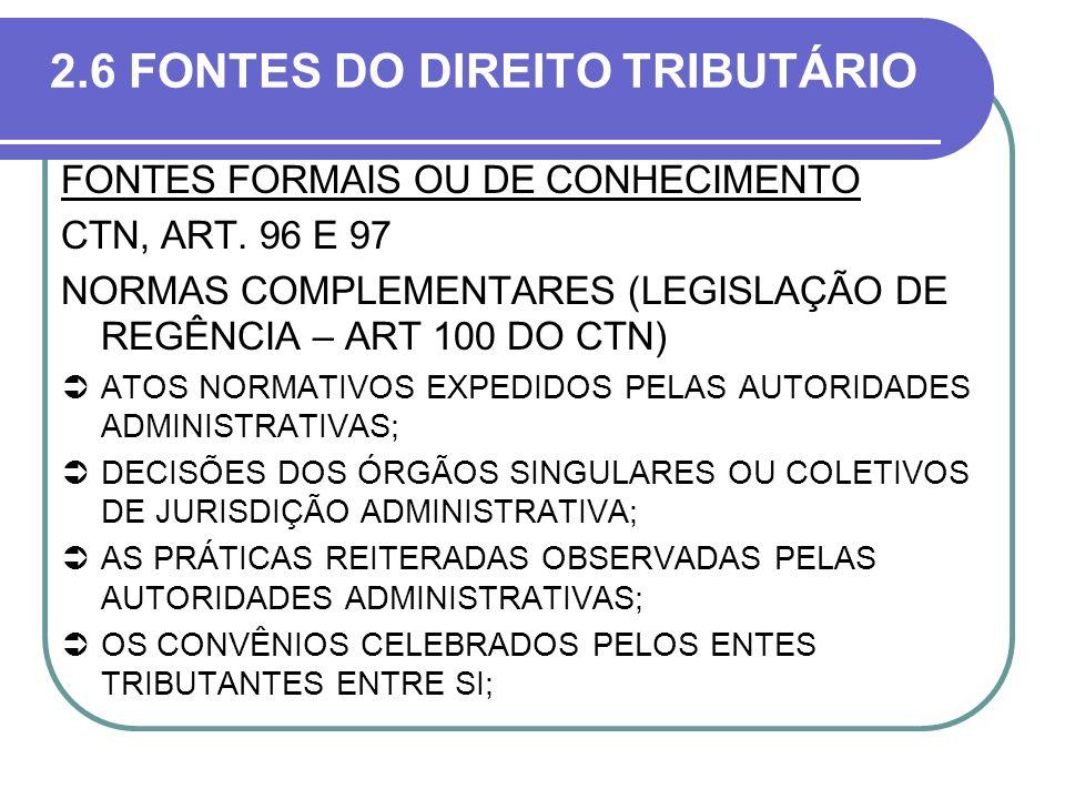 2.6 FONTES DO DIREITO TRIBUTÁRIO