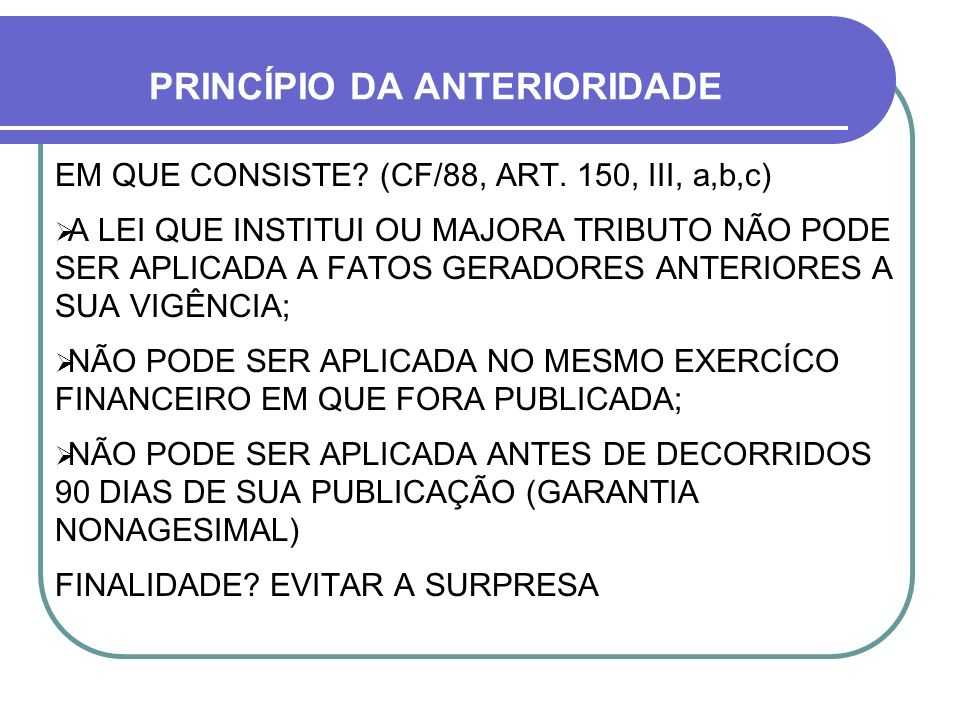 PRINCÍPIO DA ANTERIORIDADE