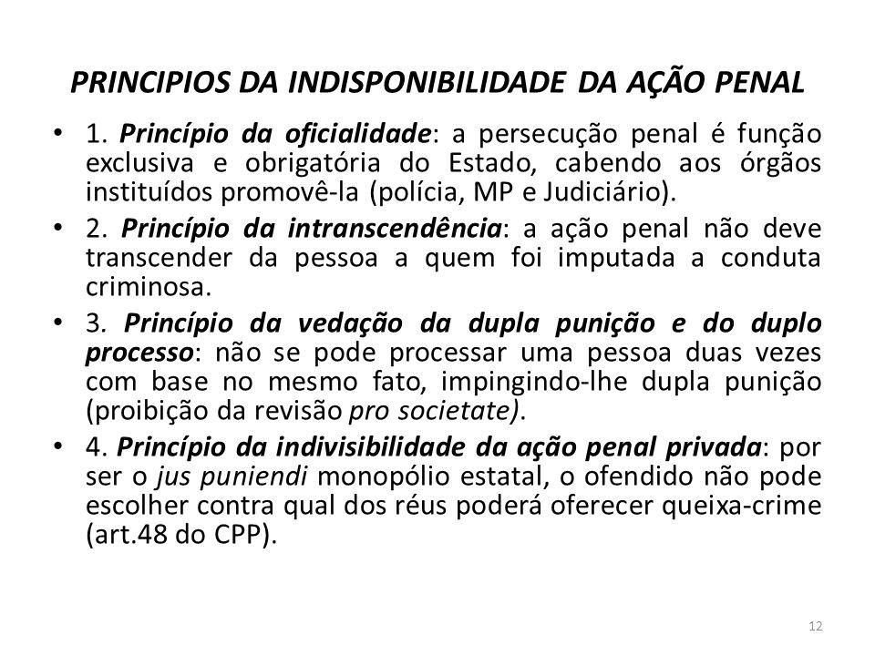 PRINCIPIOS DA INDISPONIBILIDADE DA AÇÃO PENAL
