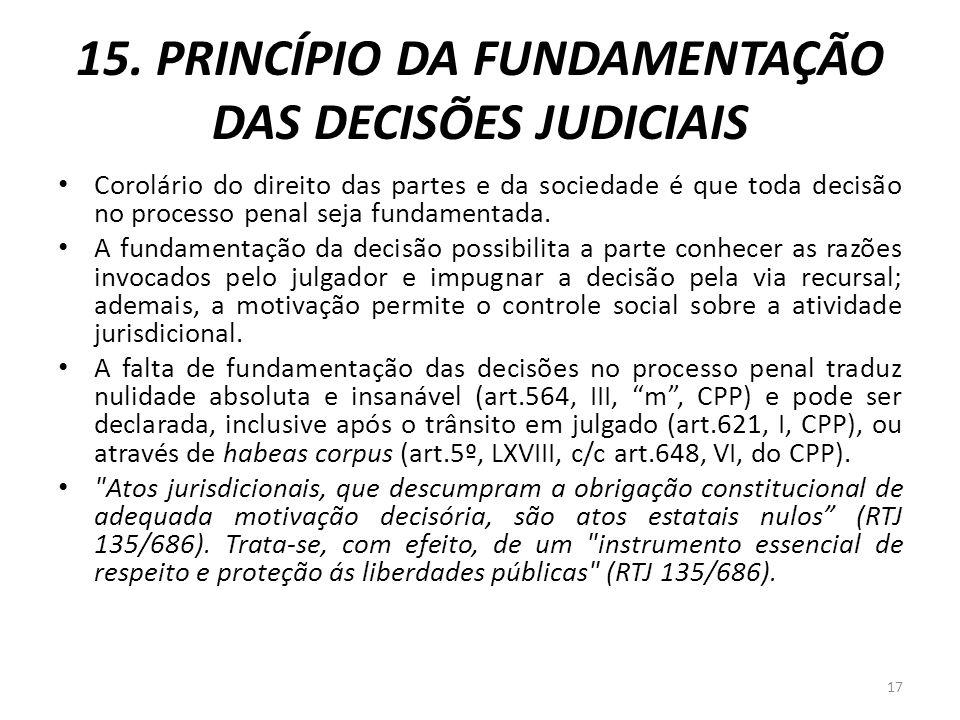 15. PRINCÍPIO DA FUNDAMENTAÇÃO DAS DECISÕES JUDICIAIS