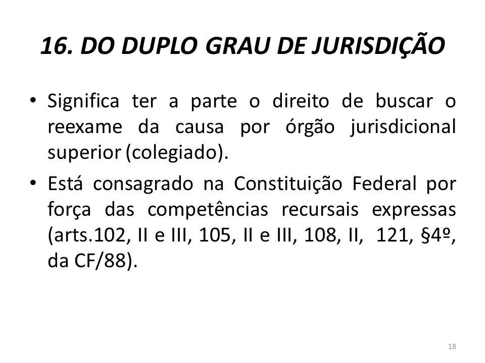 16. DO DUPLO GRAU DE JURISDIÇÃO