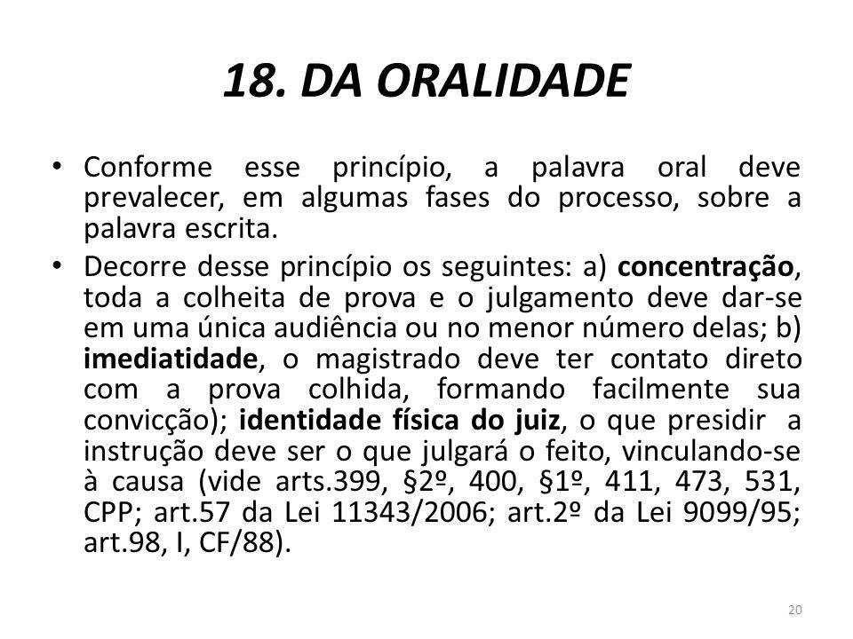 18. DA ORALIDADE Conforme esse princípio, a palavra oral deve prevalecer, em algumas fases do processo, sobre a palavra escrita.