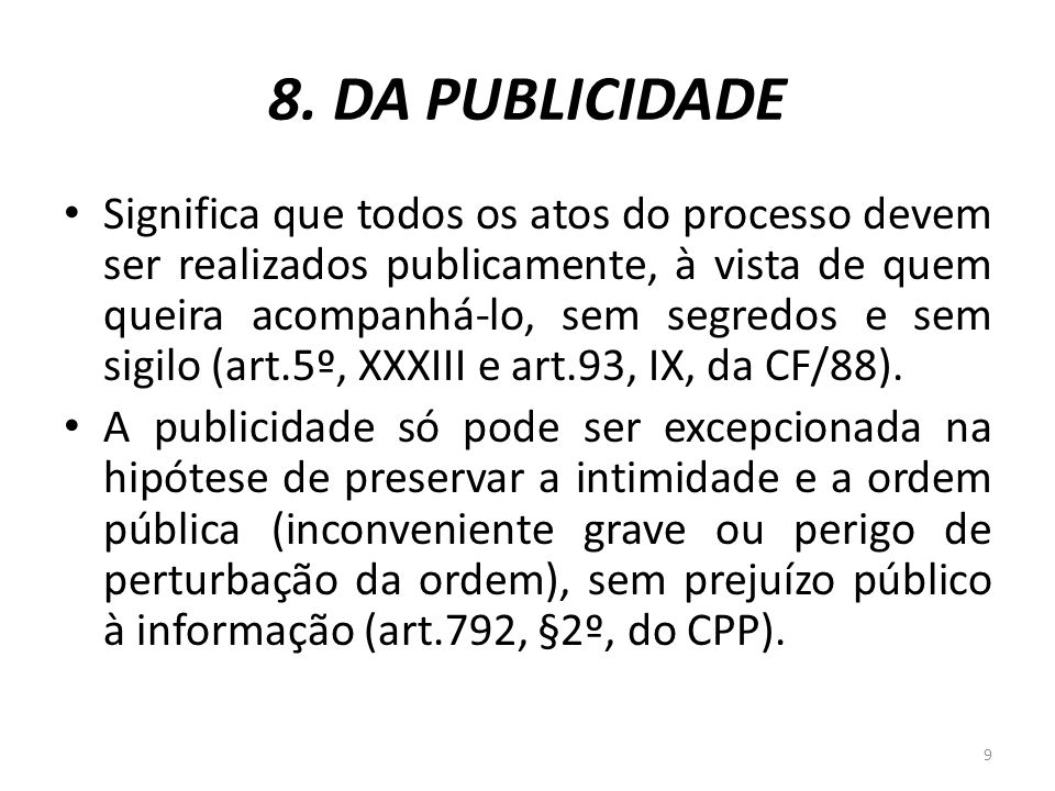 8. DA PUBLICIDADE