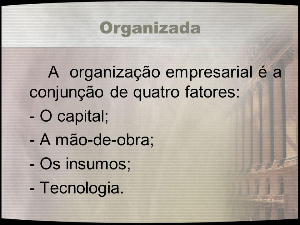 Organizada - O capital; - A mão-de-obra; - Os insumos; - Tecnologia.