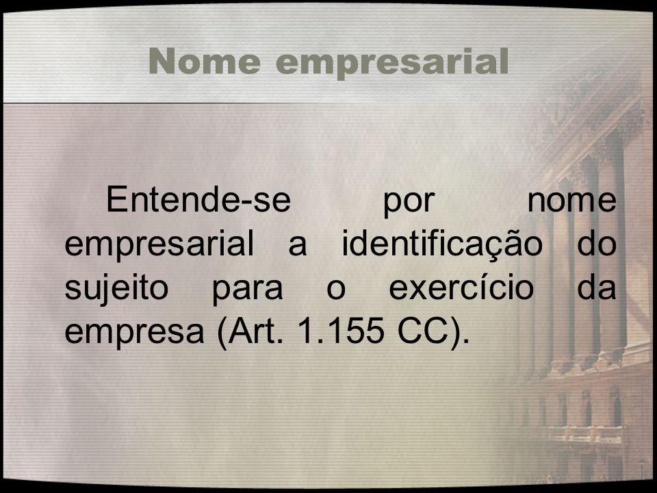 Nome empresarial Entende-se por nome empresarial a identificação do sujeito para o exercício da empresa (Art.