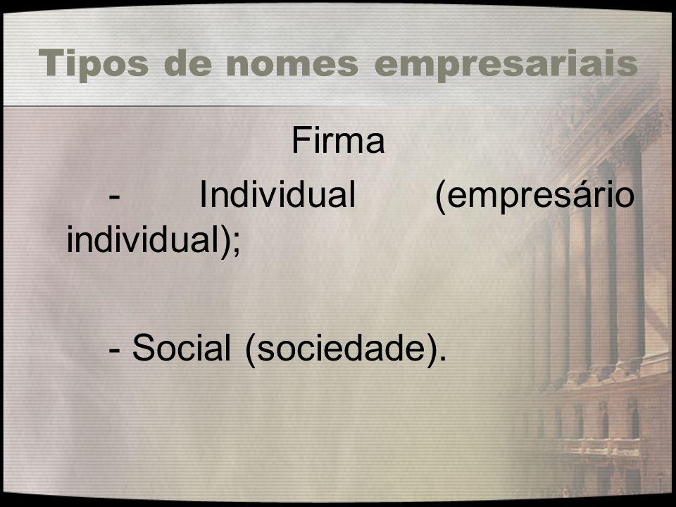 Tipos de nomes empresariais