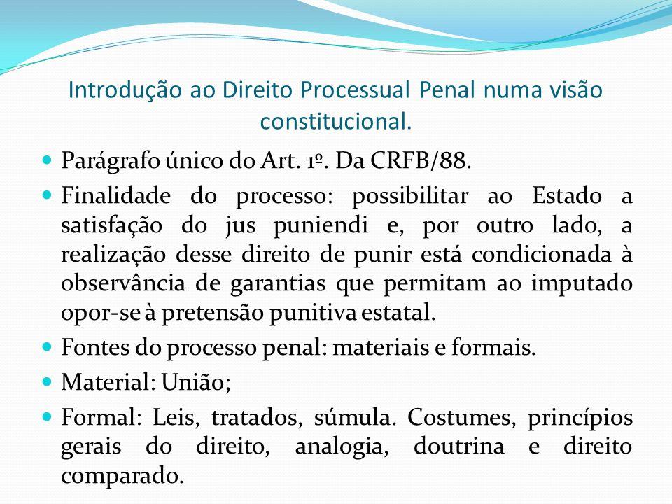 Introdução ao Direito Processual Penal numa visão constitucional.