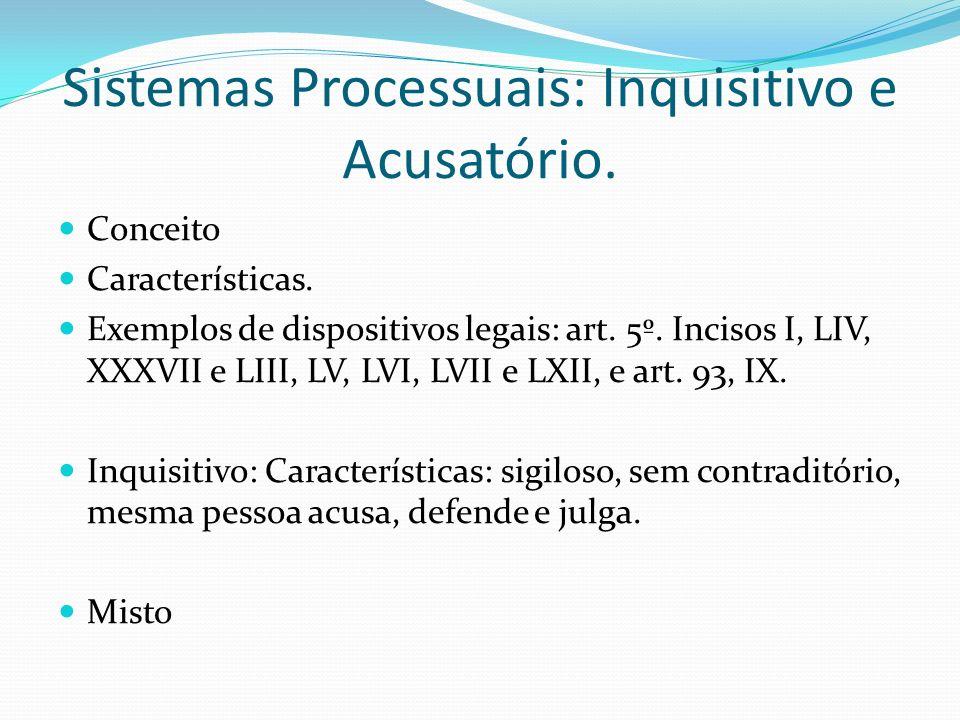 Sistemas Processuais: Inquisitivo e Acusatório.