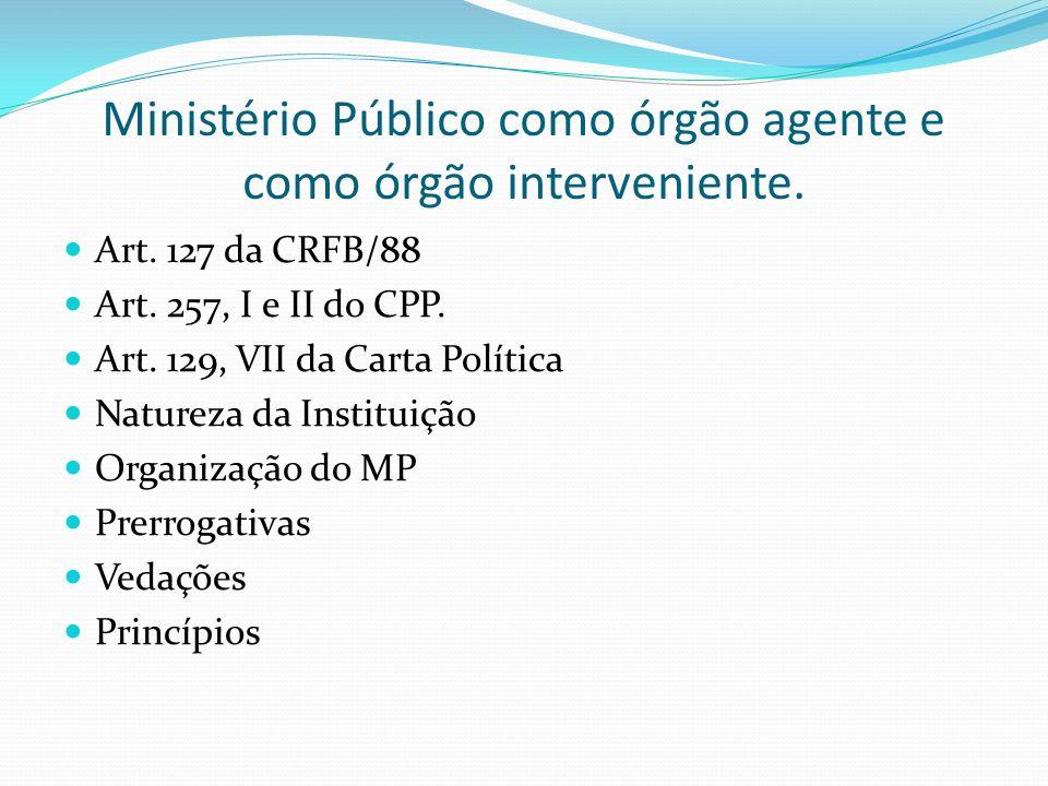 Ministério Público como órgão agente e como órgão interveniente.