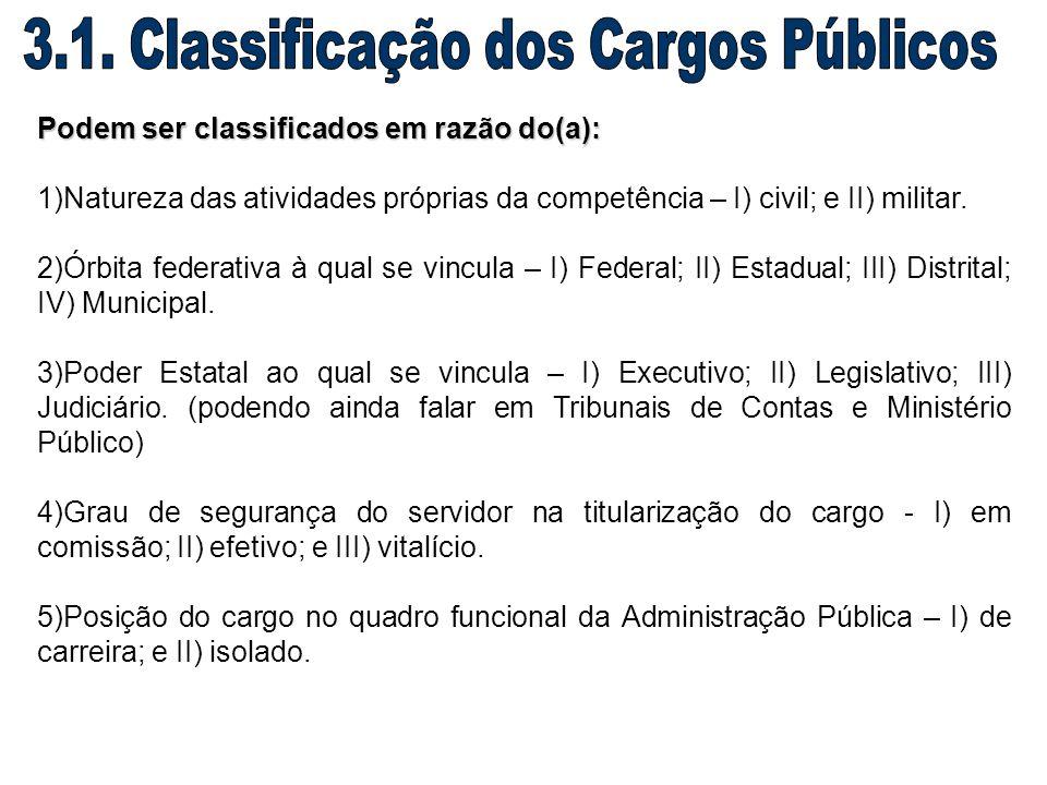3.1. Classificação dos Cargos Públicos