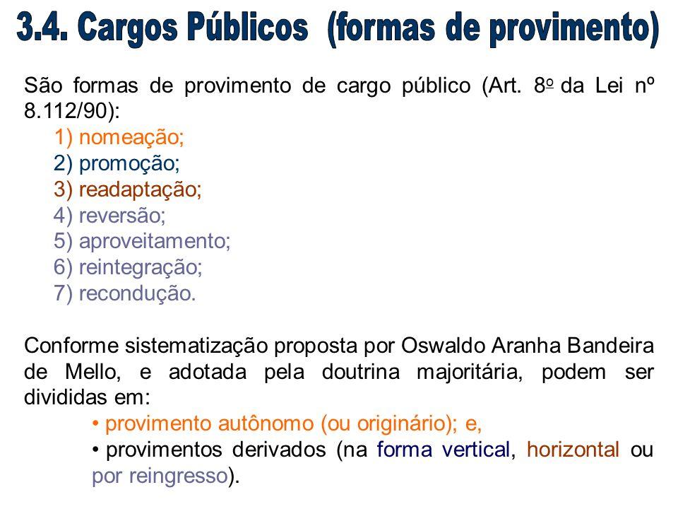 3.4. Cargos Públicos (formas de provimento)
