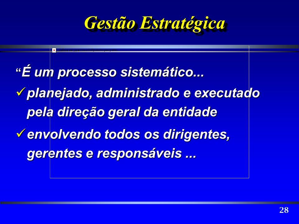 Gestão Estratégica É um processo sistemático... planejado, administrado e executado pela direção geral da entidade.