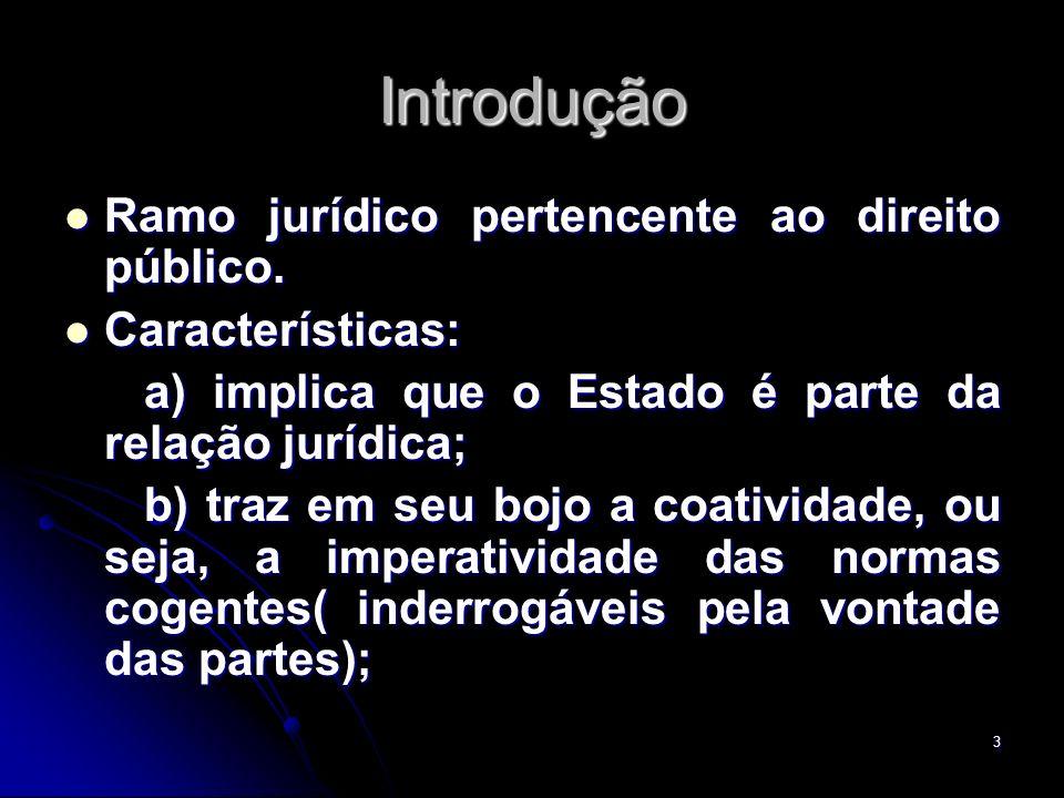 Introdução Ramo jurídico pertencente ao direito público.