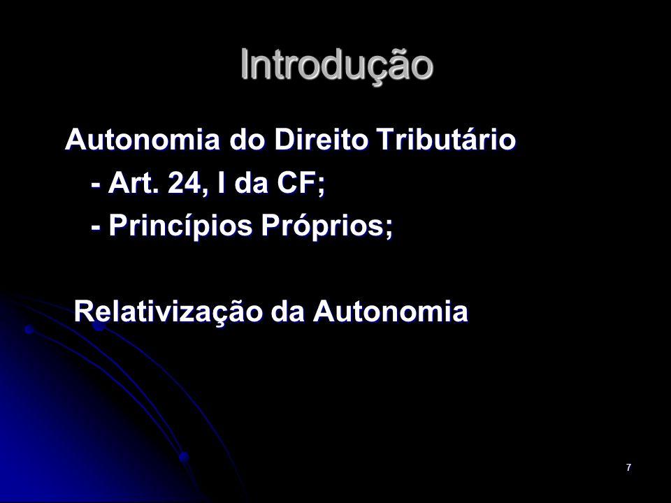 Introdução Autonomia do Direito Tributário - Art. 24, I da CF;