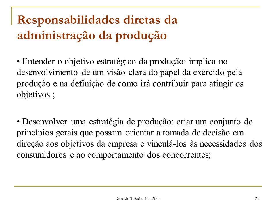Responsabilidades diretas da administração da produção