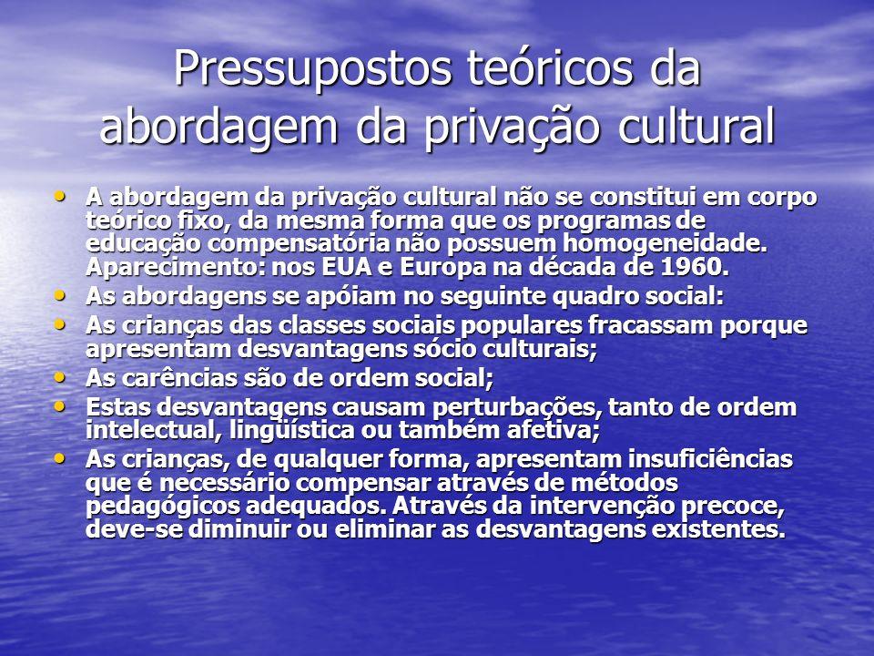 Pressupostos teóricos da abordagem da privação cultural