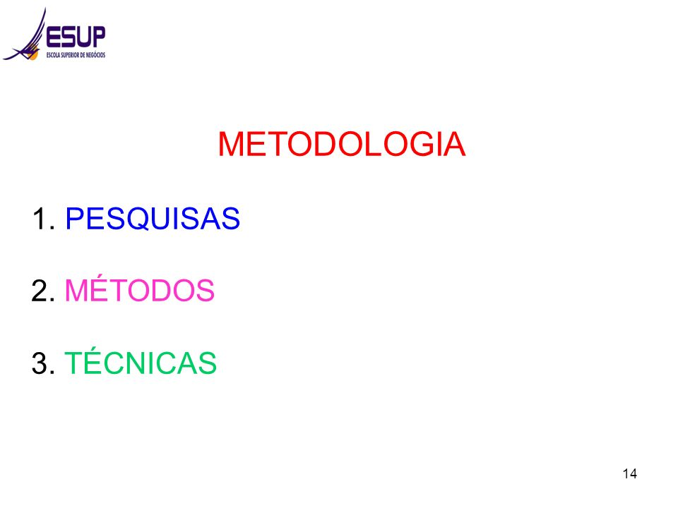 METODOLOGIA PESQUISAS 2. MÉTODOS 3. TÉCNICAS
