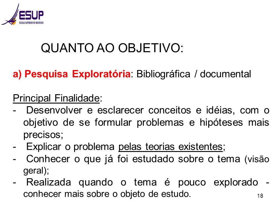 QUANTO AO OBJETIVO: a) Pesquisa Exploratória: Bibliográfica / documental. Principal Finalidade: