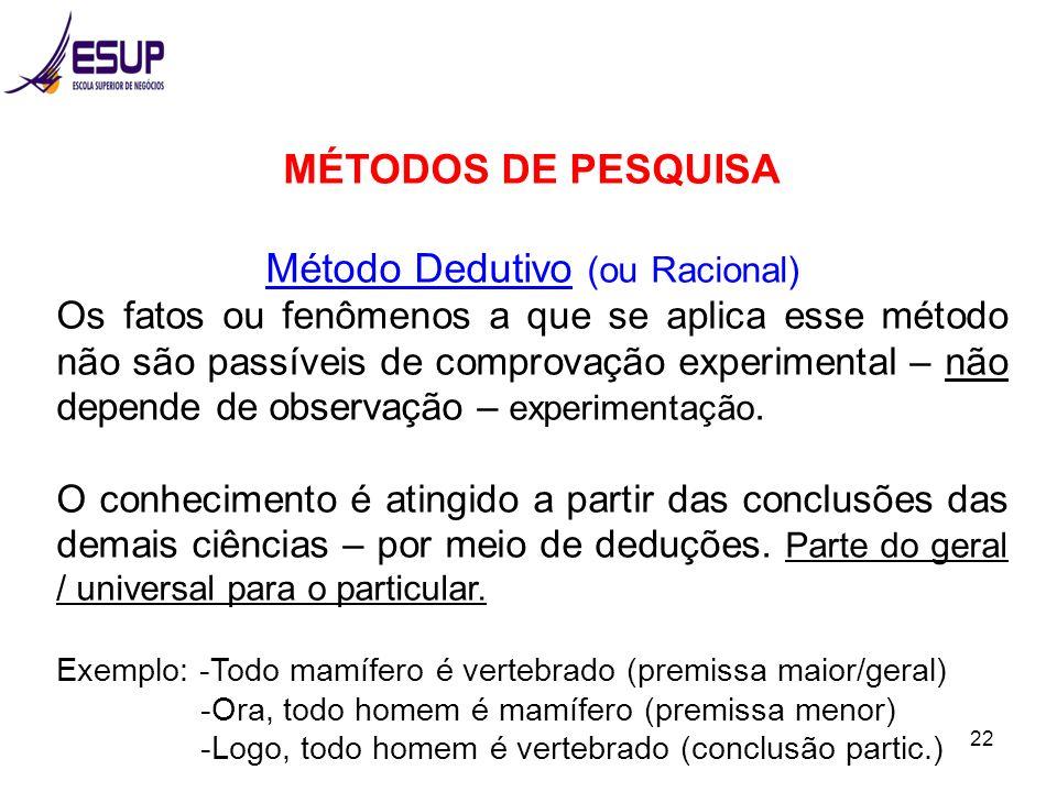 Método Dedutivo (ou Racional)