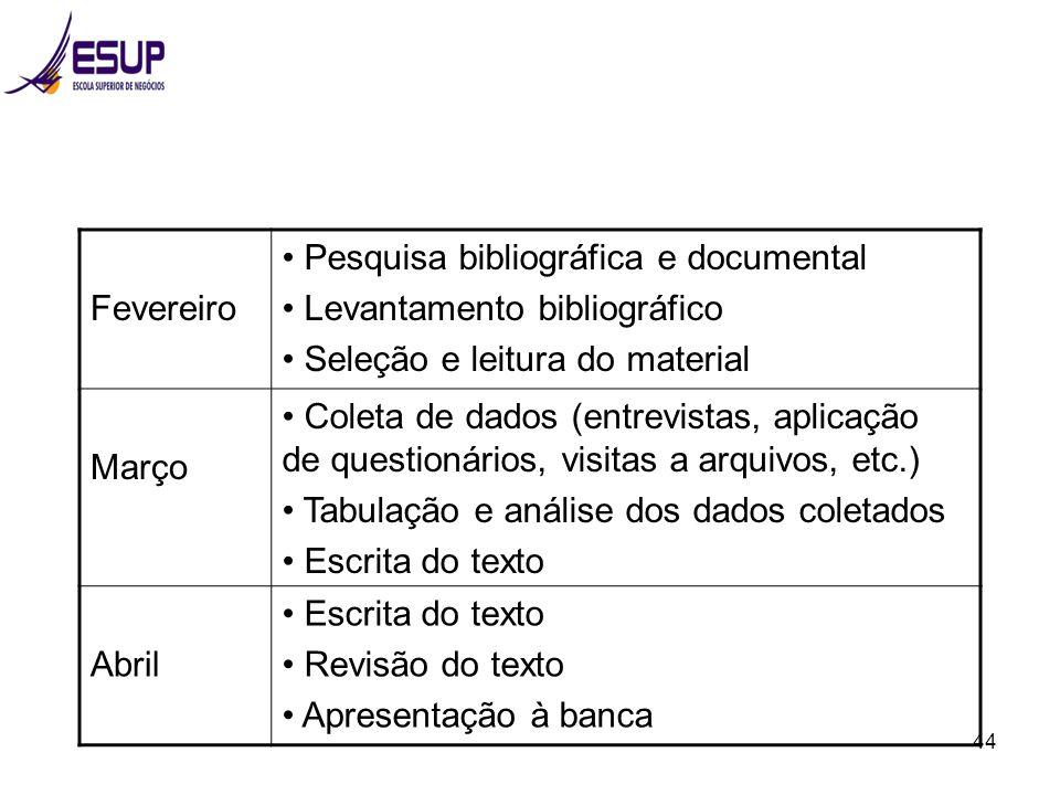 Fevereiro Pesquisa bibliográfica e documental. Levantamento bibliográfico. Seleção e leitura do material.