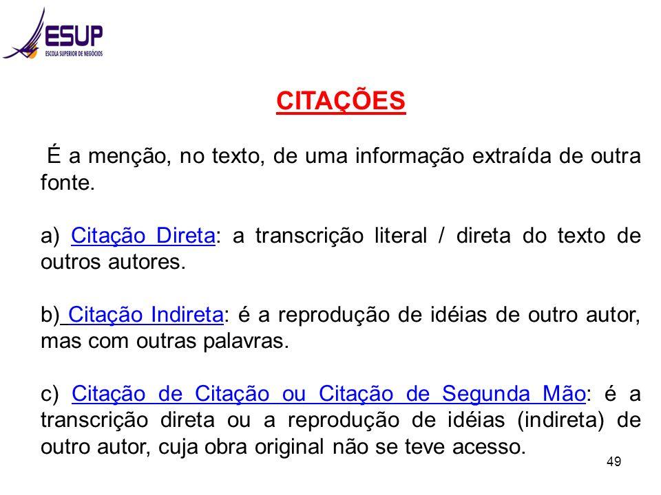 CITAÇÕES É a menção, no texto, de uma informação extraída de outra fonte.