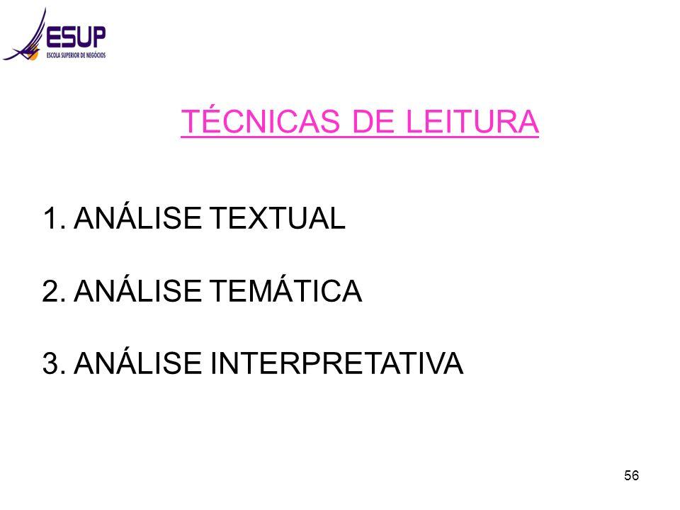 TÉCNICAS DE LEITURA 1. ANÁLISE TEXTUAL 2. ANÁLISE TEMÁTICA