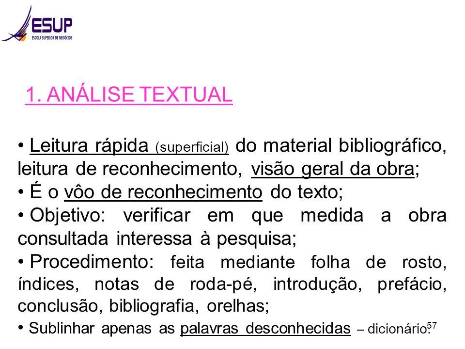 1. ANÁLISE TEXTUAL Leitura rápida (superficial) do material bibliográfico, leitura de reconhecimento, visão geral da obra;