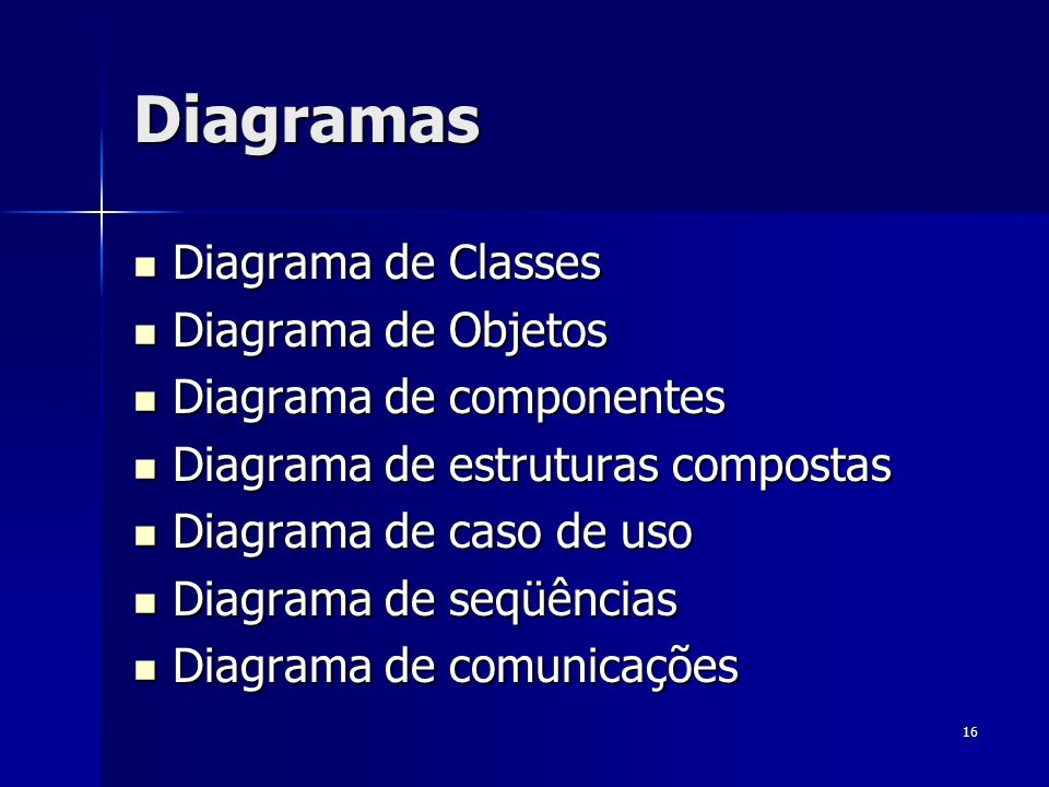 Diagramas Diagrama de Classes Diagrama de Objetos