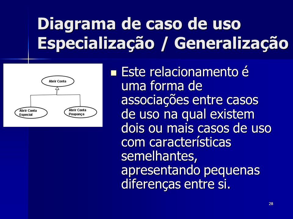 Diagrama de caso de uso Especialização / Generalização