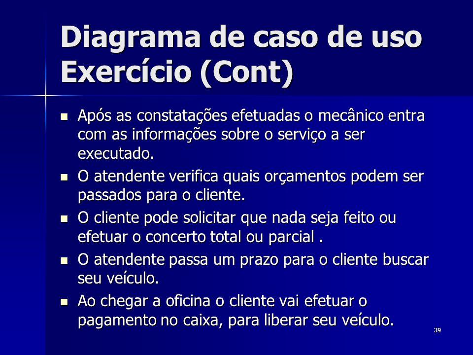 Diagrama de caso de uso Exercício (Cont)