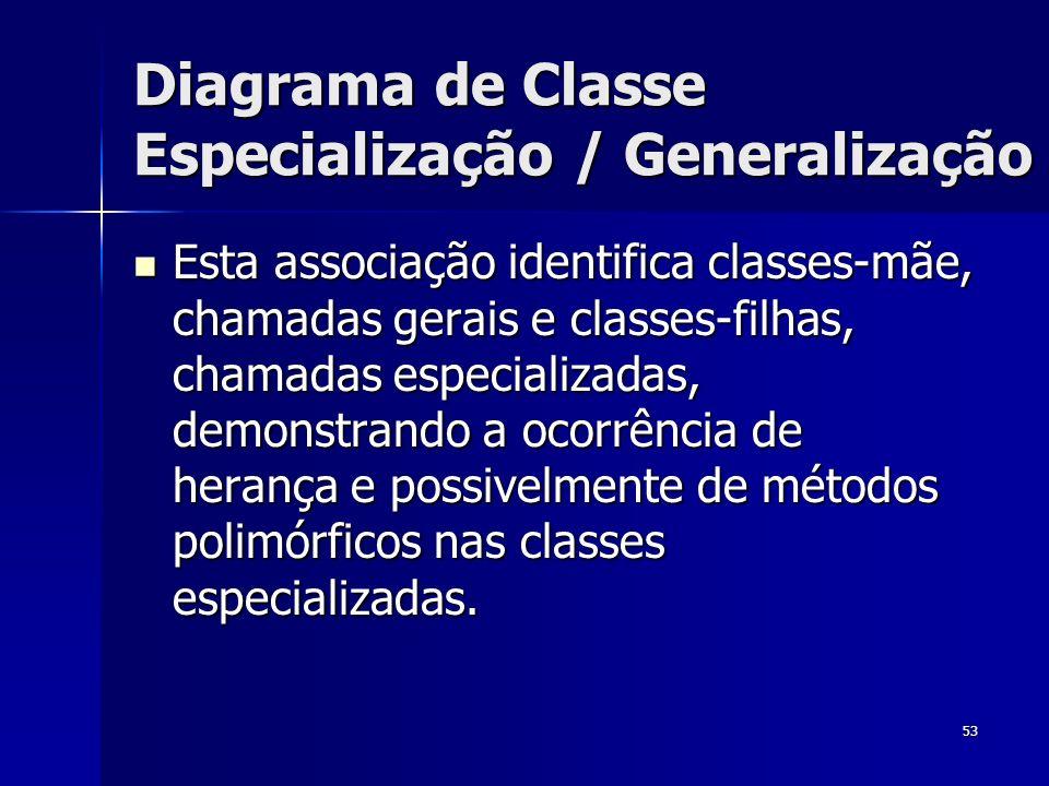 Diagrama de Classe Especialização / Generalização