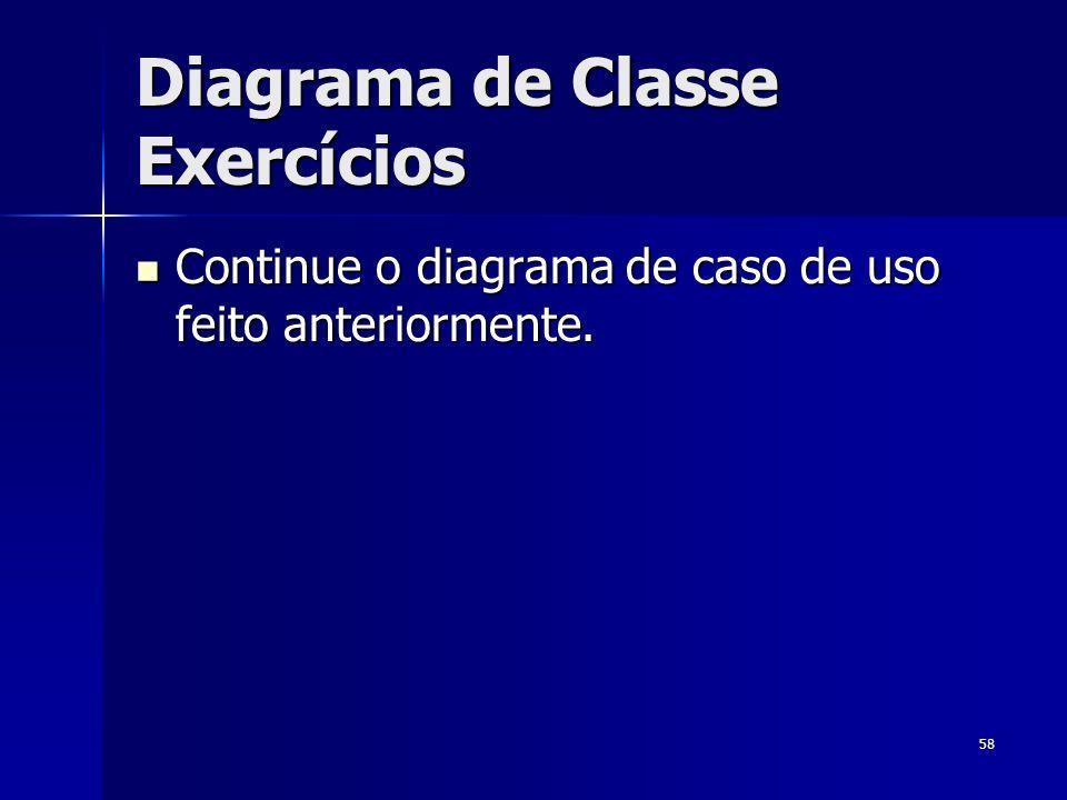 Diagrama de Classe Exercícios