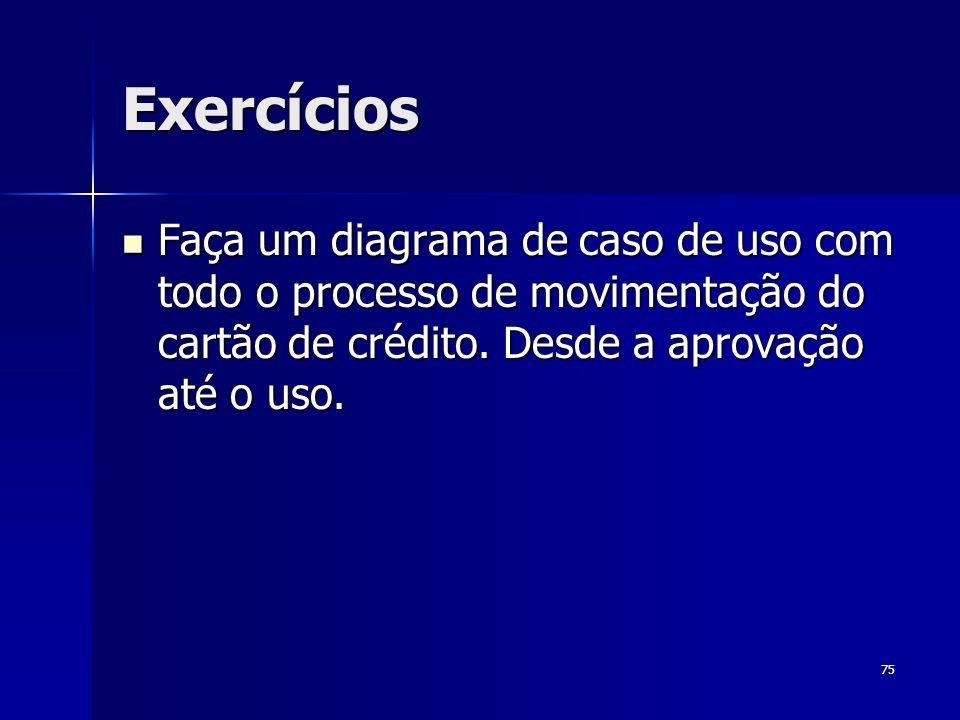 ExercíciosFaça um diagrama de caso de uso com todo o processo de movimentação do cartão de crédito.