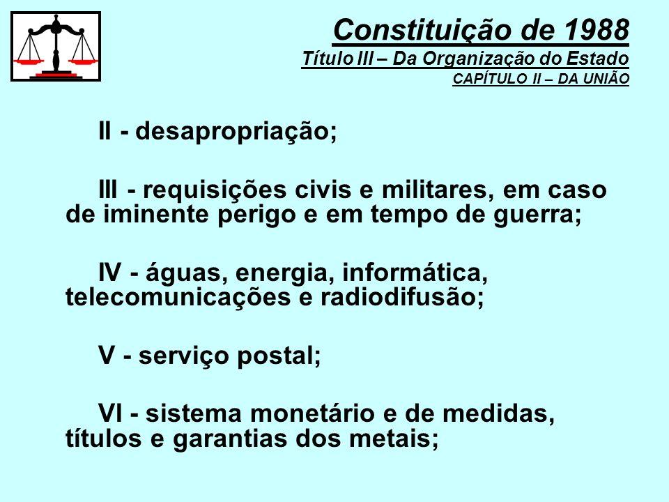 Constituição de 1988 Título III – Da Organização do Estado CAPÍTULO II – DA UNIÃO