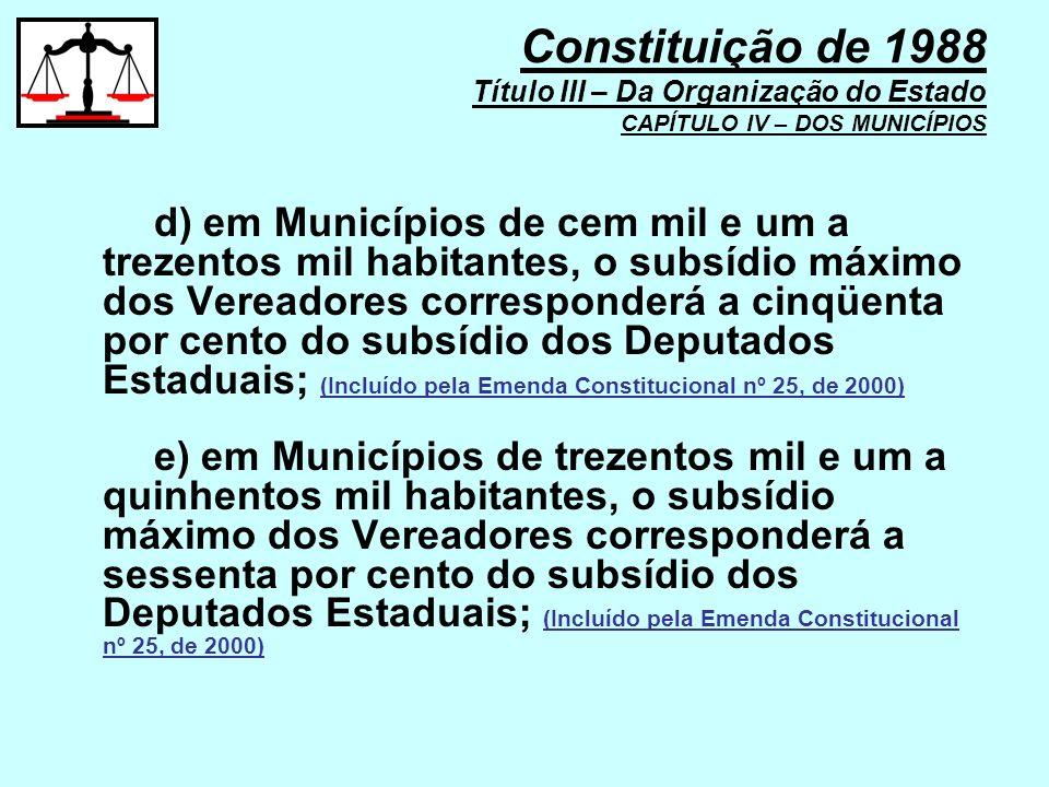 Constituição de 1988 Título III – Da Organização do Estado CAPÍTULO IV – DOS MUNICÍPIOS