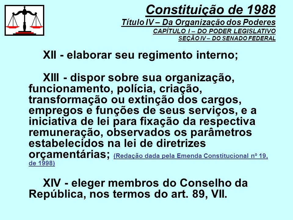Constituição de 1988 Título IV – Da Organização dos Poderes CAPÍTULO I – DO PODER LEGISLATIVO SEÇÃO IV – DO SENADO FEDERAL