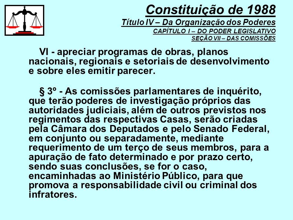 Constituição de 1988 Título IV – Da Organização dos Poderes CAPÍTULO I – DO PODER LEGISLATIVO SEÇÃO VII – DAS COMISSÕES